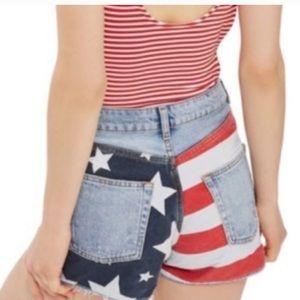 NWT Topshop ripped mom shorts american flag